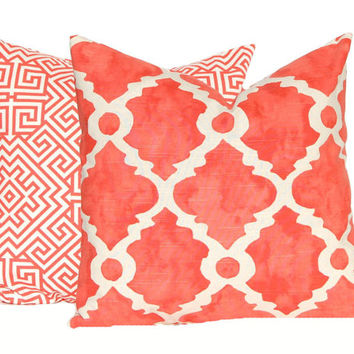 Orange Pillow, Throw Pillow Cover, Decorative Pillow Cover Salmon Orange Cushion Cover, Toss Pillow, Orange Cushion