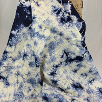 Made in Kenya--African Tie Dye Fabric--African Batik Fabric--Cream and Navy Blue--African Fabric by the HALF YARD