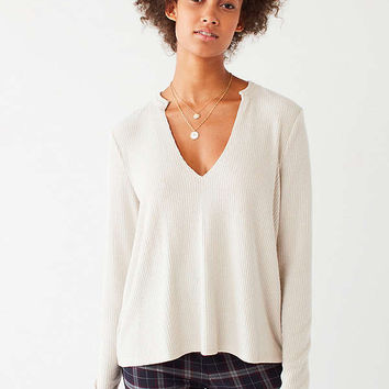 UO Cozy Notched Long Sleeve Top   Urban Outfitters