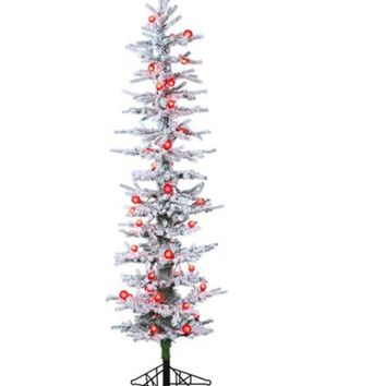 VOND4H 6' Pre-Lit White Snow Flocked Green Pine Artificial Christmas Tree - Red Lights