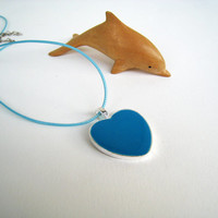 Heart necklace Cerulean Turquoise Blue Cobalt. Minimalist romantic mothers day heart charm pendant, baby shower gift. Greek Summer Jewelry