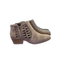 Chance by Soda Bikers Stack Heel Ankle Booties w V-Cut & Triangle Perforated Cutout