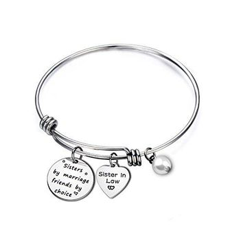 ENSIANTH Sister In Law Gift Sisters by Marriage Friends by Choice Bangle Bracelet Maid of Honor GiftBest Friend GiftWedding Jewelry