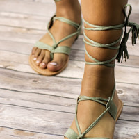 Soft Olive Lace Up Sandal