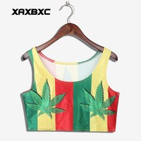 XAXBXC 1002 Summer Sexy Girl Vest Women Crop Top Jamaica Colour Weed Leaf Prints Elastic Slim Sleeveless Fitness Tank Tops