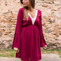 Bells And Lace Dress, Burgundy