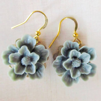 Floral earrings, Simple and Romantic Earrings, blue, gold plated wire hook, great gift for holiday