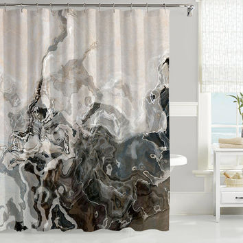 Abstract art shower curtain, contemporary bathroom decor, stone gray shower curtain, contemporary shower curtain from original Geological