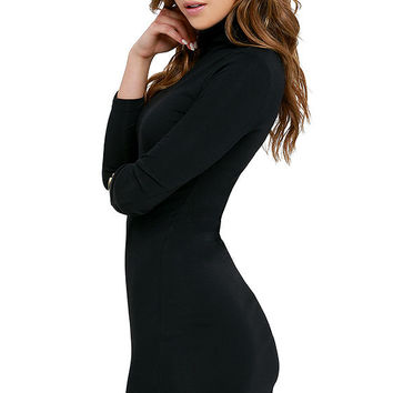 Phenomenal Feeling Black Long Sleeve Bodycon Dress