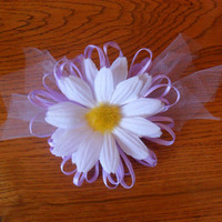 Light purple flower hair clip with daisy and tulle by CherishedJewels