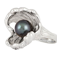 Tahitian Pearl ring: sterling silver wave ring with unique design