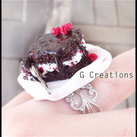 Chocolate Raspberry Cake Ring - Handmade - Kawaii - Polymer Clay - Choco Fruit Dessert Plate Spoon - Colorful - Miniature Ring - Cake