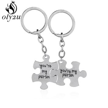 Oly2u Grey Anatomy Keychain (You Are My Person )Puzzle keychain Lovers Best Friend Statement Car Key Holder Valentine's Day Gift