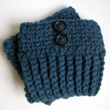 Womens Boot Socks With Buttons In Denim Wool , Boot Cuffs