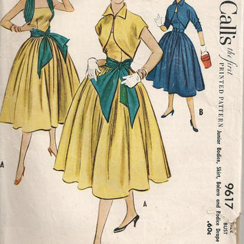 Two Piece Strapless Evening Dress with Bodice Wrap Vintage 1950s McCalls Sewing Pattern 9617 Bouffant Skirt & Bolero Size 11 Bust 29