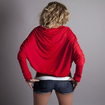Red Shrug Bolero Long Sleeve Jersey Batwing Cardigan by MoonHalo