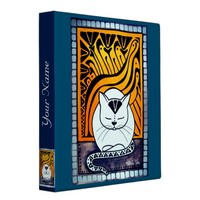 Meditation White Cat with your Name 3 Ring Binder