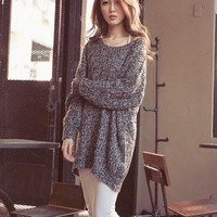 Women Oversized Knitted Sweater Batwing Sleeve Tops Loose Outwear Coat Pullover