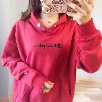 PEAPNH Champion Women Fashion Embroidery Hoodie Top Sweater Pullover