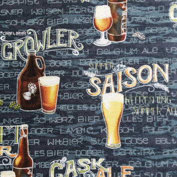 CRAFT BEER COLLAGE Print Cotton Fabric Tavern Pub Decor Retro Kitch Novelty by the yard quilting crafts Fun for Creative Genius Projects