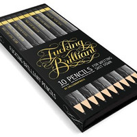 Fucking Brilliant Pencils with Gold Foil on Gray