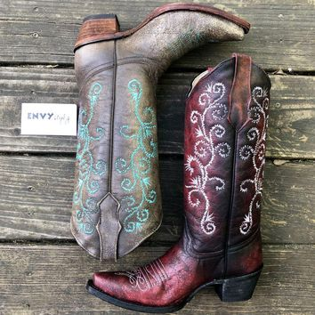 Corral Sand and Turquoise Embroidery Boot