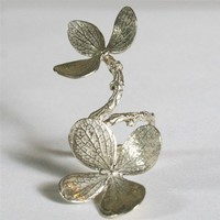 Gorgeous Double flower branch ring in green silver by zulasurfing