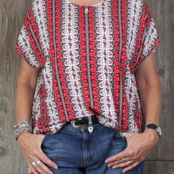 Nice J Jill WearEver XL size Blouse Red Black White Floral Womens Top Career Casual