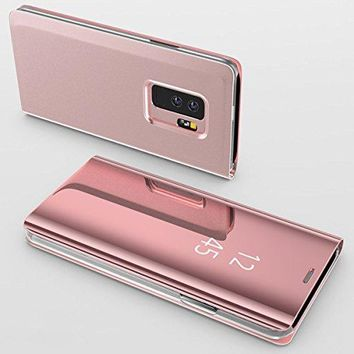 Samsung Galaxy S9 Plus Case,Electroplating Ultra-thin Translucent Mirror Clear Luxury Shockproof Protective Metal Aluminum Smart View Flip Stand Cover Case for Samsung Galaxy S9 Plus Rose Gold