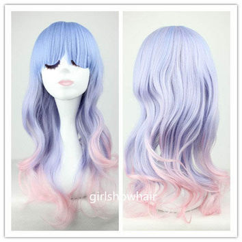 Medium Long PURPLE Ombre Wig, Gradient Cosplay Wig-Pastel purple Wig, Kawaii Lolita Wig, Long Multi-Color lolita wig 27.6 inch jjgA