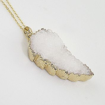Golden Angel Wing Drusy Pendant