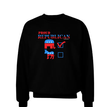 TooLoud Proud Republican Checkmark Adult Dark Sweatshirt