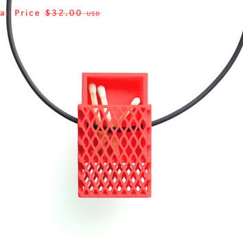 SALE 3d printed necklace- Matchbox Pendant in Red - modern, geometric jewelry, personalize with message/photo