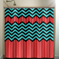 red stripe aqua blue chevron shower curtain bathroom decor fabric kids bath white black custom duvet cover rug mat window