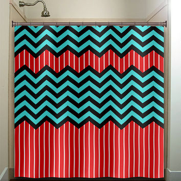 Bon Red Stripe Aqua Blue Chevron Shower Curtain Bathroom Decor Fabric Kids Bath  White Black Custom Duvet