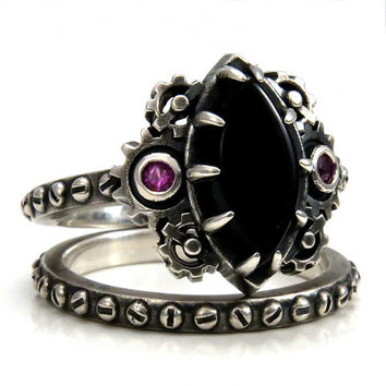 steampunk engagement ring set marquise onyx cabochon with pink sapphires set in gears rivet - Steampunk Wedding Rings