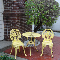 Michael Anthony Furniture Royal Crown Yellow Cast Aluminum Outdoor 3-Piece Bistro Set