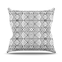 "Pom Graphic Design ""Tribal Expression"" Black White Throw Pillow"