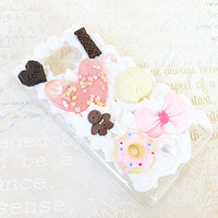 Clear Samsung Galaxy S2 Case Pastel Decoden Phone Case with Cookies Candy Sweets Cabochon and Faux Pearl Flatbacks Kawaii Lolita Themed