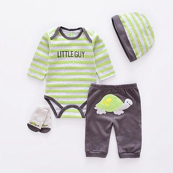 Baby Clothing Sets cotton boy clothes suit Newborn girl suit long sleeve infant bodysuits+pants+socks+hat