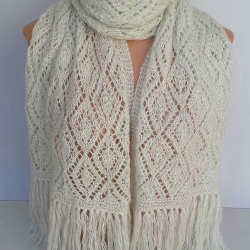 Knitting Scarf, Hand-knitted Shawl, White Scarf, Silvery Scarf, Tassels Scarf, Silvery Wrap , Autumn Scarf, Neck Scarf, Silvery White Scarf
