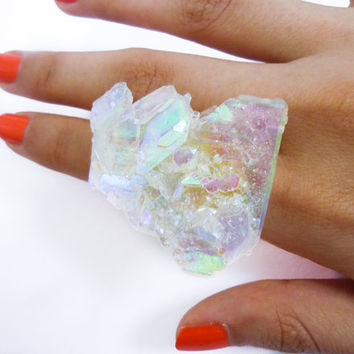 Angel Opal Aura Quartz Crystal Druzy Ring Rainbow FACETED ICEBERG by AstralEYE