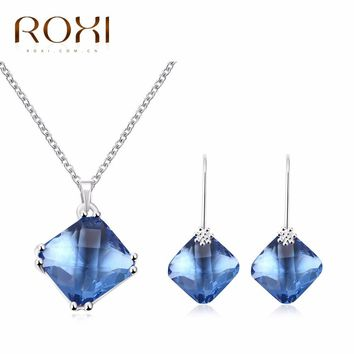 2017 ROXI Jewelry Set Charms Blue Crystal Long Necklace/Stud Earrings for Mother's Gift Luxury Jewellery TOP Quality
