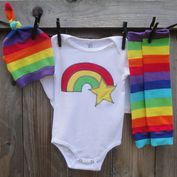 RAINBOW BRITE STRIPES - 3pc Appliqued Shirt or Onesuit/Hat/Leg Warmers for Children, Babies, Toddlers, Girls, Birthday, Halloween Costume