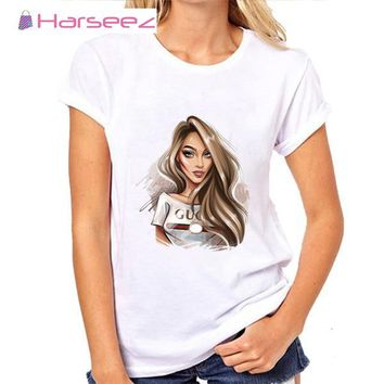 Trending Harseez GUCCI and VOGUE Women's T-Shirt Fashion Girl Print Short Sleeve T-Shirt