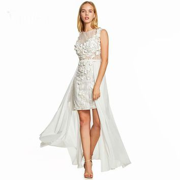 Sheath cocktail dress ivory cap sleeves knee length gown women scoop neck wedding party asymmetry dresses