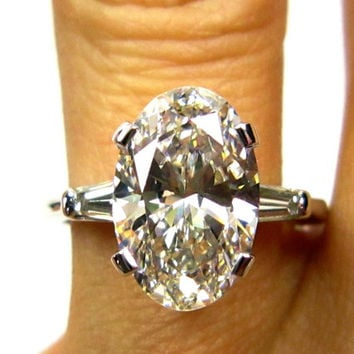 Reserved....Estate Vintage 3.24ct Classic OVAL Cut Diamond EGL USA Engagement Ring in Platinum with Baguettes, Circa 1960