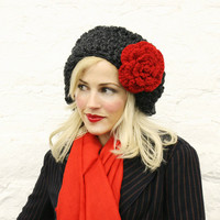 Charcoal Gray Large Slouchy Hat with Red Flower by mojospastyle