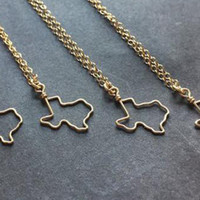 State of Texas Outline Necklace- Silver or Gold