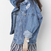 Loose Frayed Denim Jacket